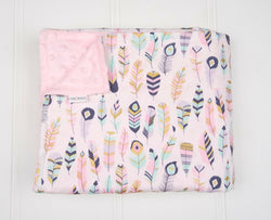 **FLASH SALE** Minky Baby Blanket with Pastel Feathers