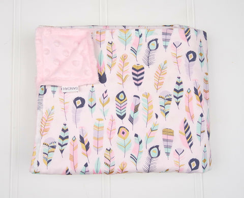 Minky Baby Blanket with Pastel Feathers
