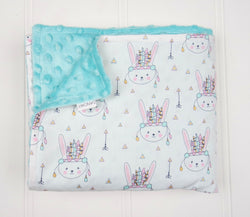 Minky Baby Blanket with Pastel Indian Bunnies