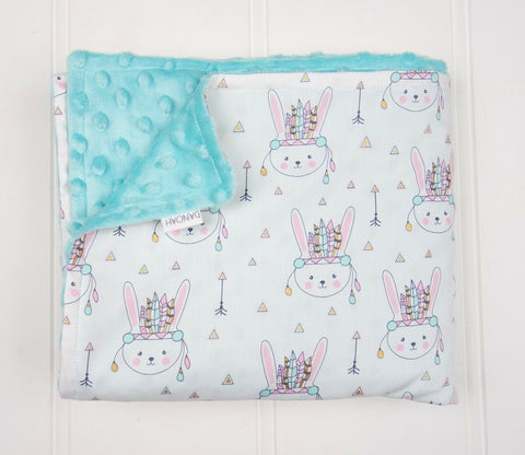 **FLASH SALE** Minky Baby Blanket with Pastel Indian Bunnies