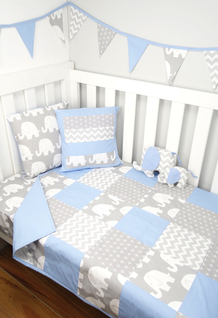 Baby Blue & Grey Elephant Patchwork Quilt