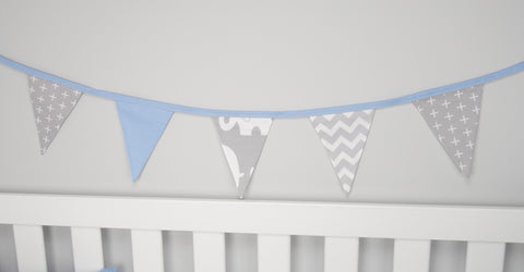Blue & Grey Elephant Bunting Flags