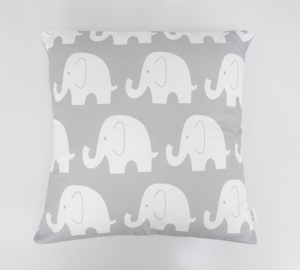 Blue & Grey Elephant Cushion Cover