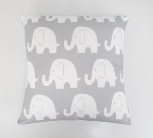 Grey & White Elephant Cushion Cover
