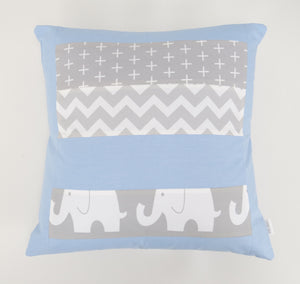 Baby Blue & Grey Elephant Patchwork Cushion Cover