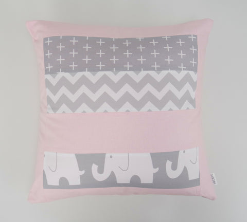 Pink & Grey Elephant Patchwork Cushion Cover