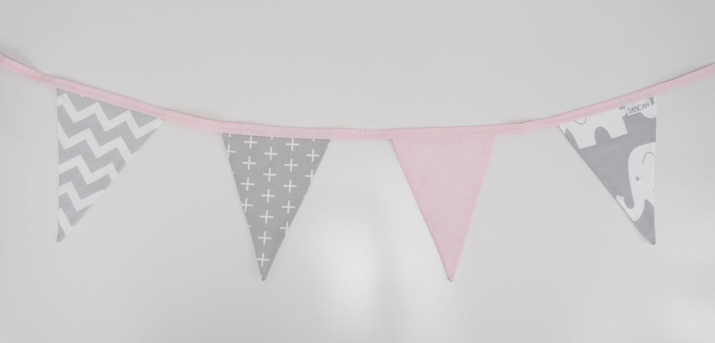 Pink & Grey Elephant Bunting Flags