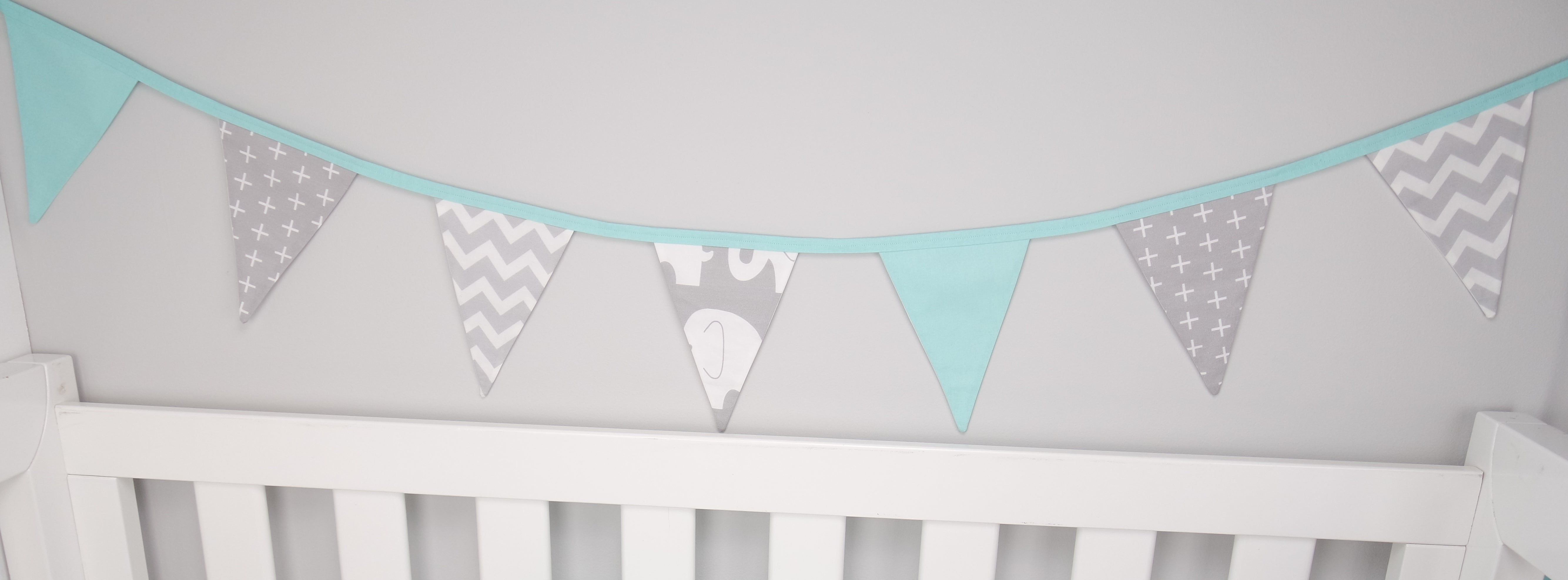 Mint & Grey Elephant Bunting Flags