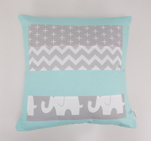 Mint & Grey Elephant Patchwork Cushion Cover