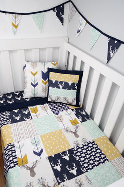 Navy Buck Patchwork Quilt