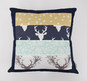 Navy Buck Patchwork Cushion Cover