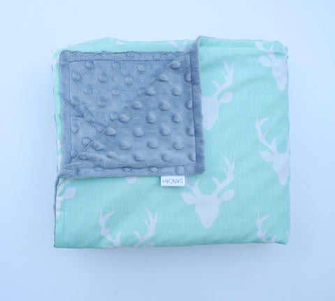 SALE - Mint Deer Baby Blanket