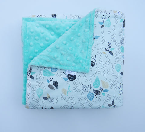 SALE - Aqua Leaf Baby Blanket
