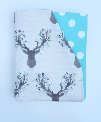 SALE - Aqua Blue Deer & Dots Quilt