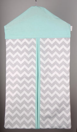Nappy Stacker - Mint & Grey Chevron