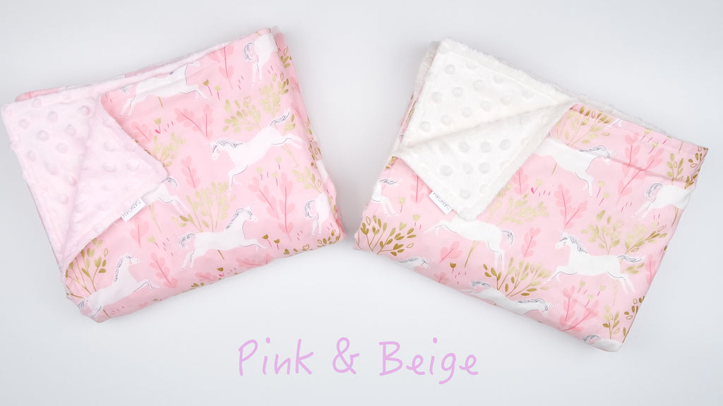 SALE -Pink & Gold Unicorn Baby Blanket