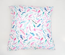 Pink Feather Cushion Cover