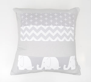 Grey & White Elephant Patchwork Cushion Cover