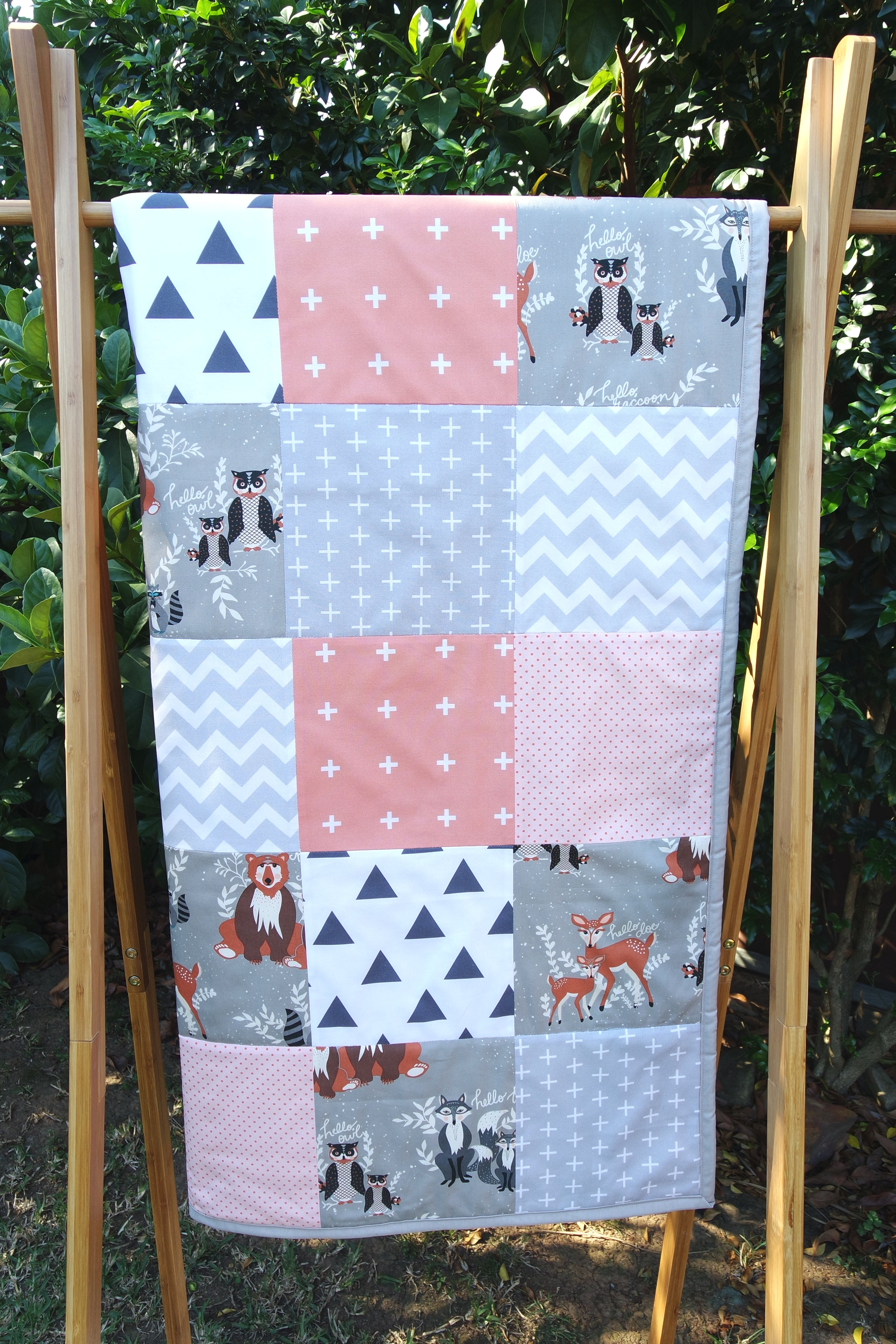 Peach & Grey Woodland Patchwork Quilt