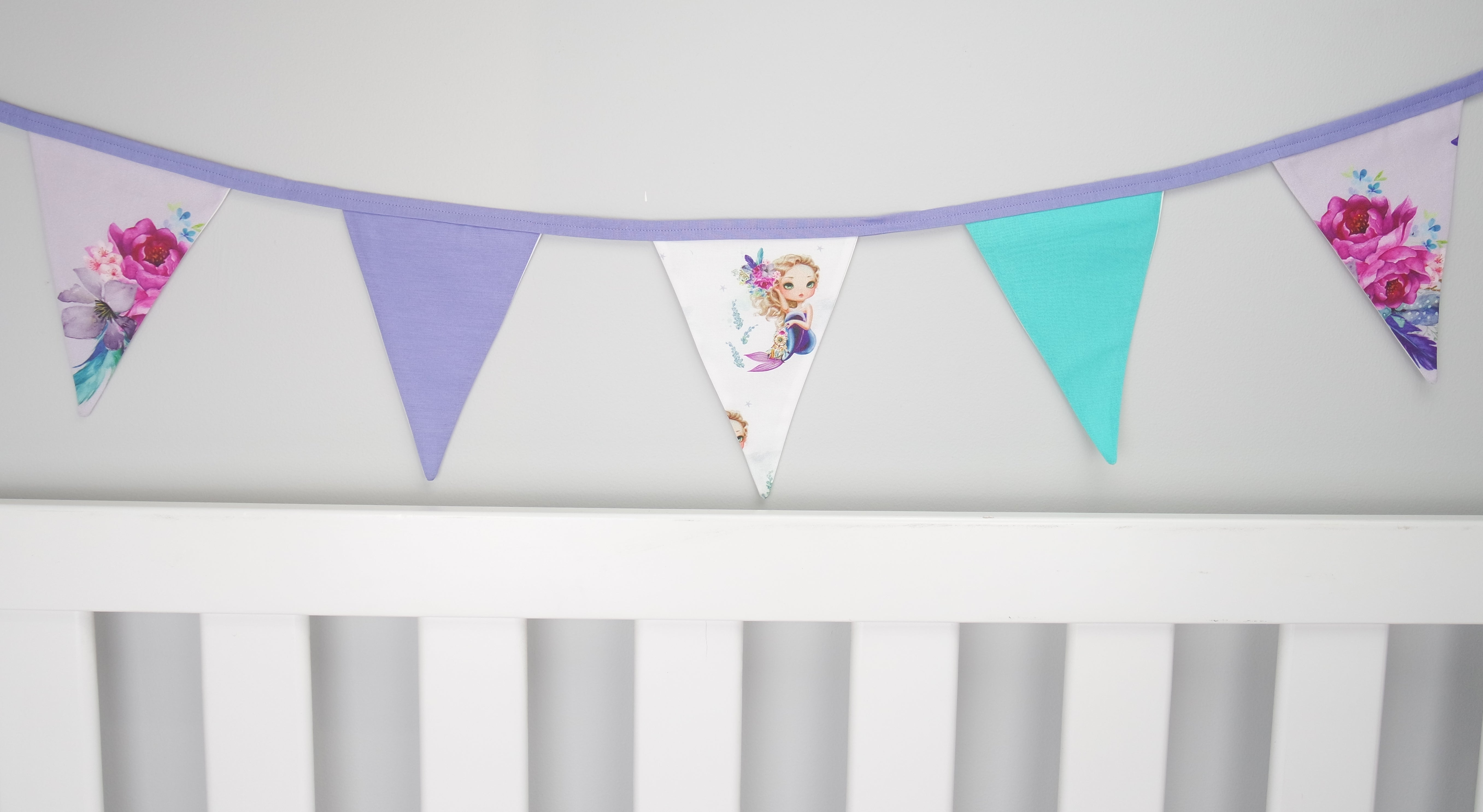 Purple Boho Mermaid Bunting Flags