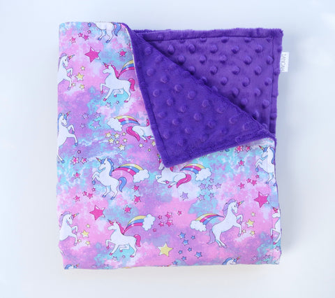 **FLASH SALE** Minky Baby Blanket with Rainbow Unicorns