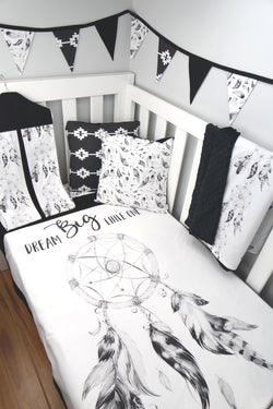 Black Dreamcatcher Cot Quilt