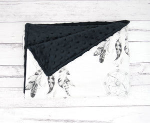 Black Dreamcatcher Minky Baby Blanket