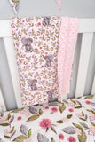 Pink Floral Elephant Minky Baby Blanket