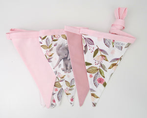 Pink Floral Elephant Bunting Flags