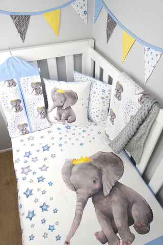 Blue Crown Elephant Cot Quilt