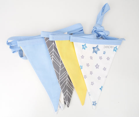 Grey, Yellow & Blue Stars Bunting Flags