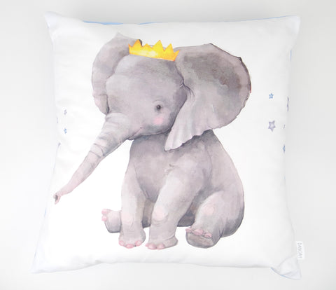 Blue Crown Elephant Cushion Cover
