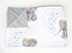 Blue Crown Elephant Minky Baby Blanket