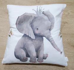 Pink Floral Elephant Cushion Cover