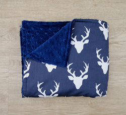 Navy Blue Deer Head Minky Baby Blanket