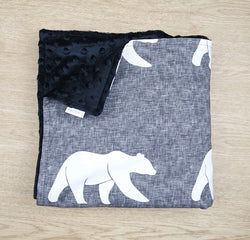Grey Bear Minky Baby Blanket