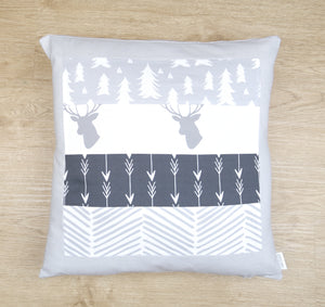 Grey Woodland Patchwork Cushion Cover