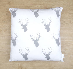 Grey & White Deer Head Cushion Cover