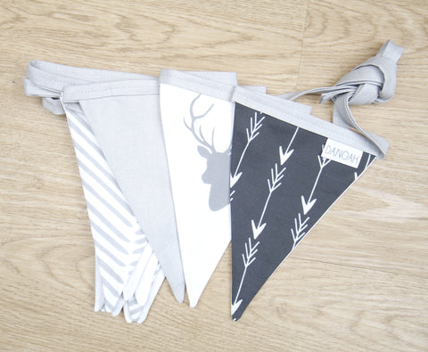 Grey Woodland Bunting Flags