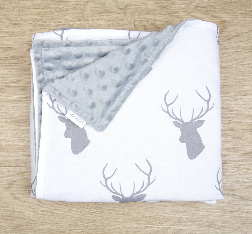 Grey & White Deer Head Minky Baby Blanket