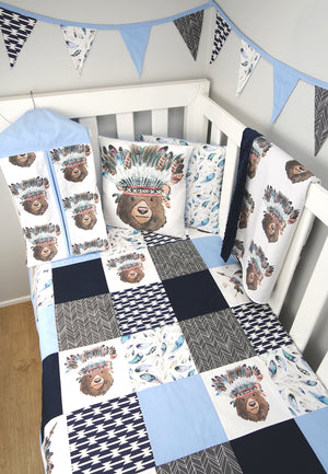Tribal Bear Patchwork Quilt