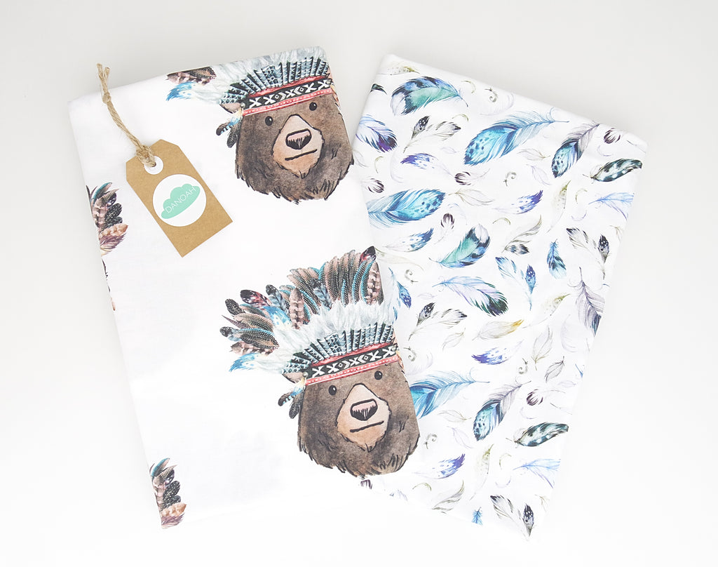 Fitted Cot Sheet ADD-ON to the Tribal Bear Collection