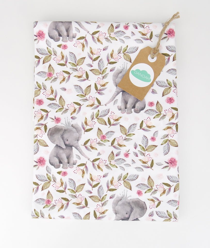 Fitted Cot Sheet ADD-ON to Pink Floral Elephant Collection