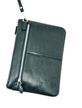 Dabati Blue Black DB68 Mens 100% leather clutch bag - Dabati London