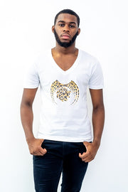 Short Sleeve Men Leopard Graphic Casual Vneck T-Shirt