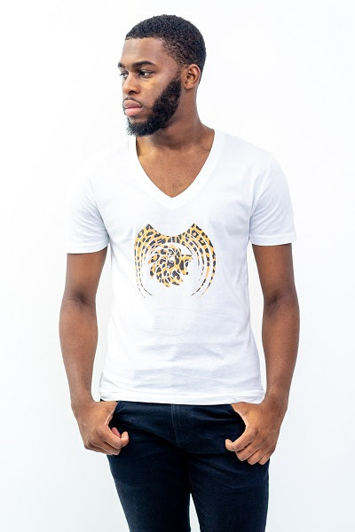 Short Sleeve Men Leopard Graphic Casual Vneck T-Shirt - Dabati London