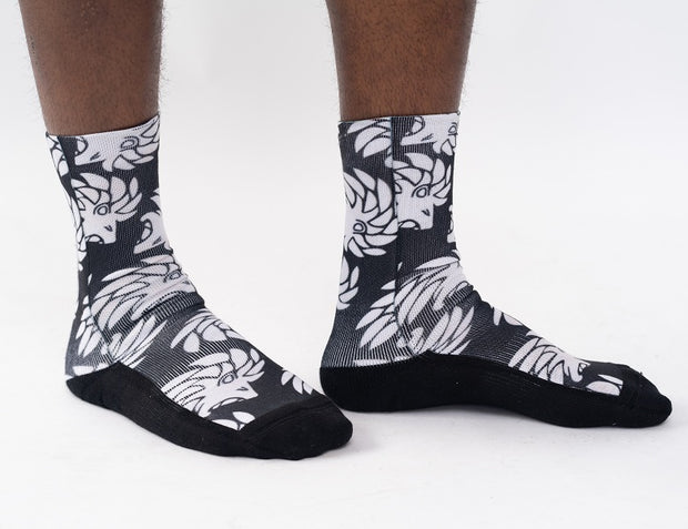 Dabati Patterned Black And White Funky Winter Socks
