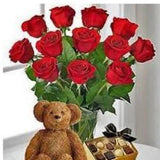 Vase of twelve red world's best Ecuador roses with chocolate and bear