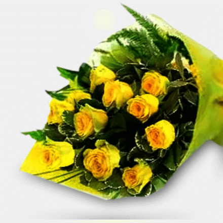 Bouquet of twelve Asia's finest yellow roses