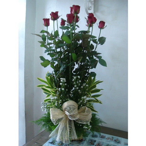 Basket of twelve red roses